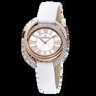 ساعة Duo  ، حزام جلدي ، أبيض ، بلون ذهبي وردي PVD