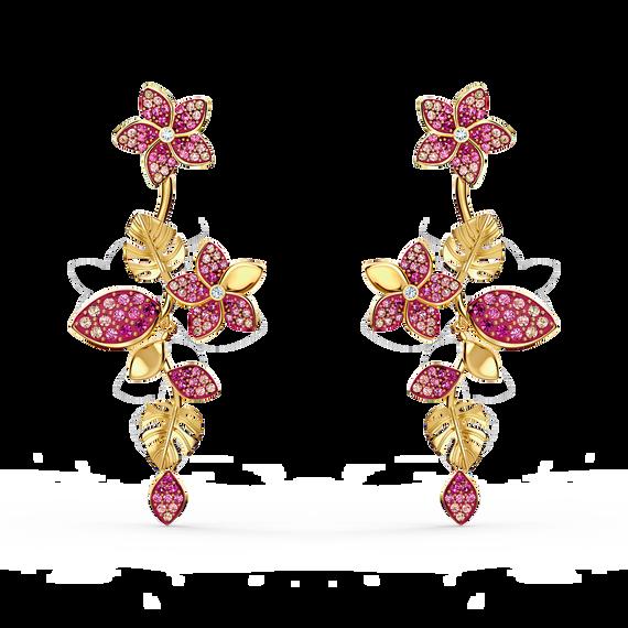 أقراط زهور Tropical للأذن المثقوبة، وردية اللون، مطلية باللون الذهبي
