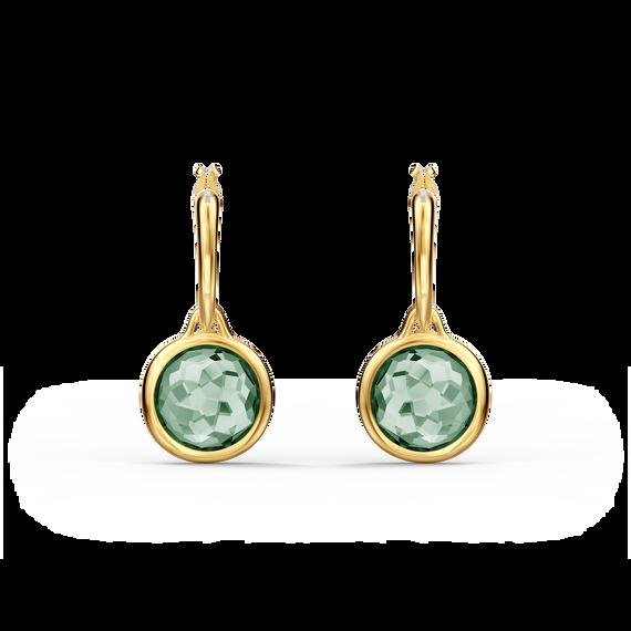 أقراط Tahlia حلقية صغيرة للأذن المثقوبة، لون أخضر، طلاء ذهبي