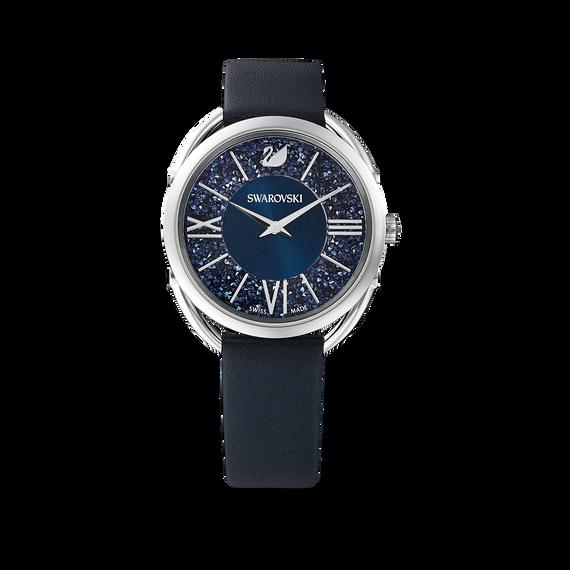 ساعة Crystalline Glam، حزام جلد، لون أزرق، ستانليس ستيل