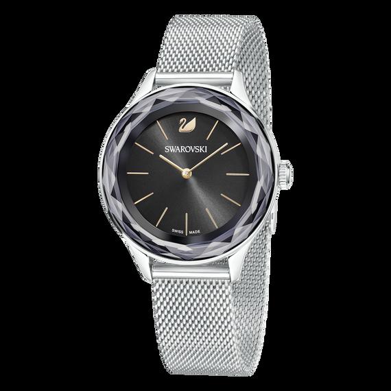 ساعة Octea Nova، بسوار شبكي معدني، بلون أسود وفضي