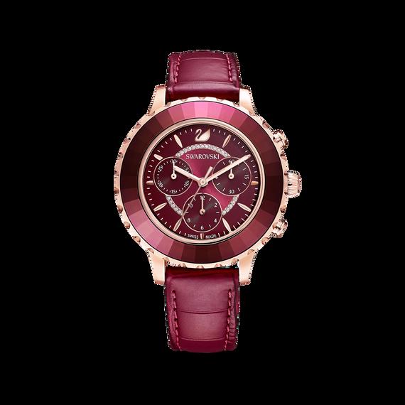 ساعة Octea Lux Chrono، سوار جلد، لون أحمر، طلاء ذهبي وردي بتقنية PVD