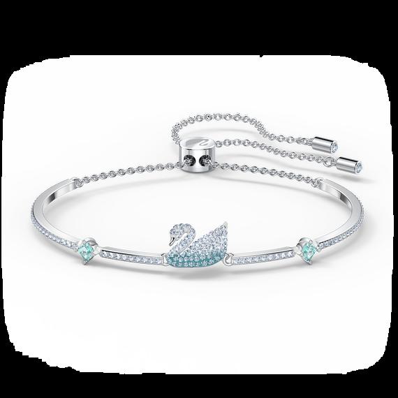 إسوارة Iconic Swan، لون أزرق، طلاء روديوم