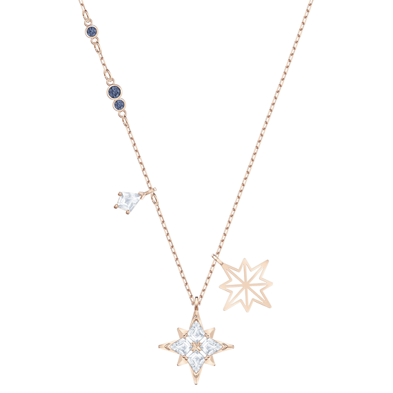 قلادة Symbolic من سواروفسكي على شكل نجم ، أبيض ، مطلي باللون الذهبي الوردي