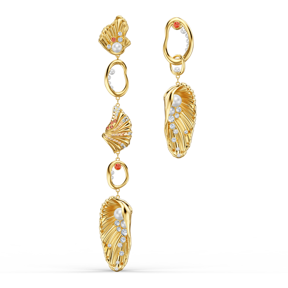 أقراط Shell Angel للأذن المثقوبة، متعددة الألوان الفاتحة، مطلية باللون الذهبي