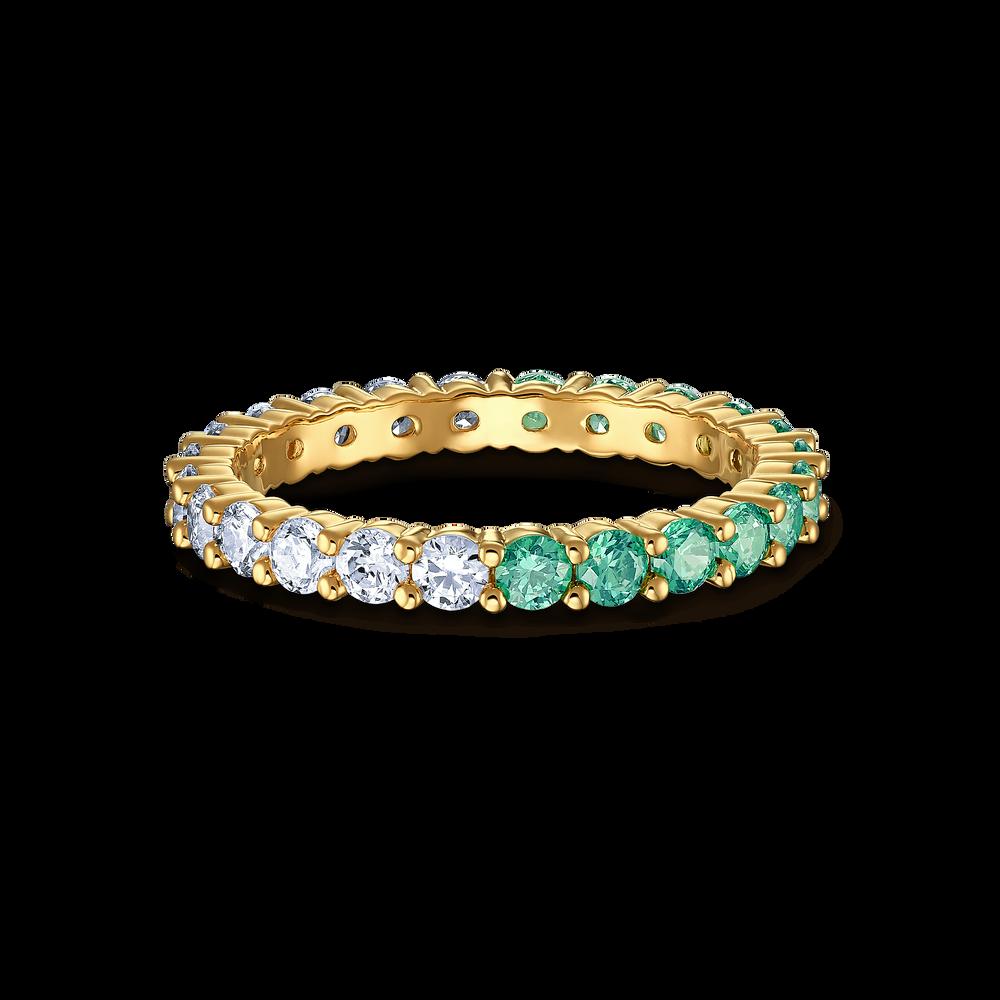 خاتم Vittore المنقسم إلى نصفين، أخضر اللون، مطلي باللون الذهبي