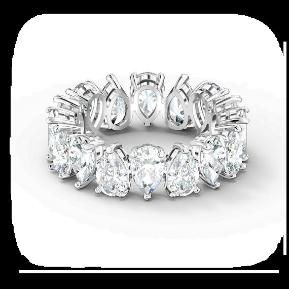 خاتم Vittore على شكل كمثرى، لون أبيض، طلاء روديوم