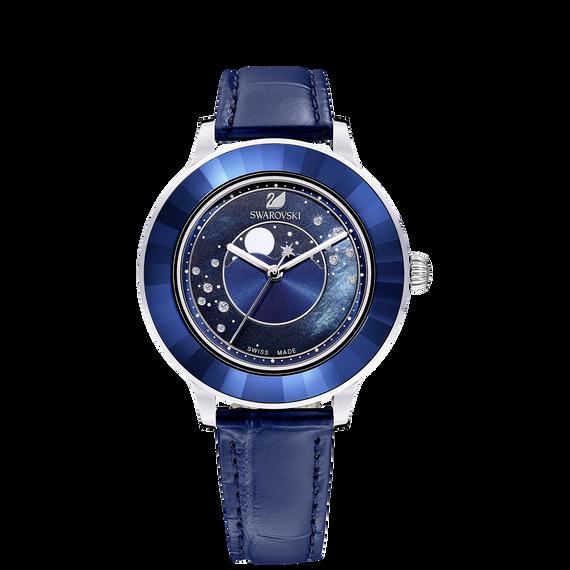 ساعة Octea Lux Moon، حزام جلد، لون أزرق داكن، ستانلس ستيل