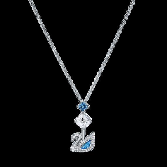 سلسلة Dazzling Swan، زرقاء اللون، مطلية بالروديوم