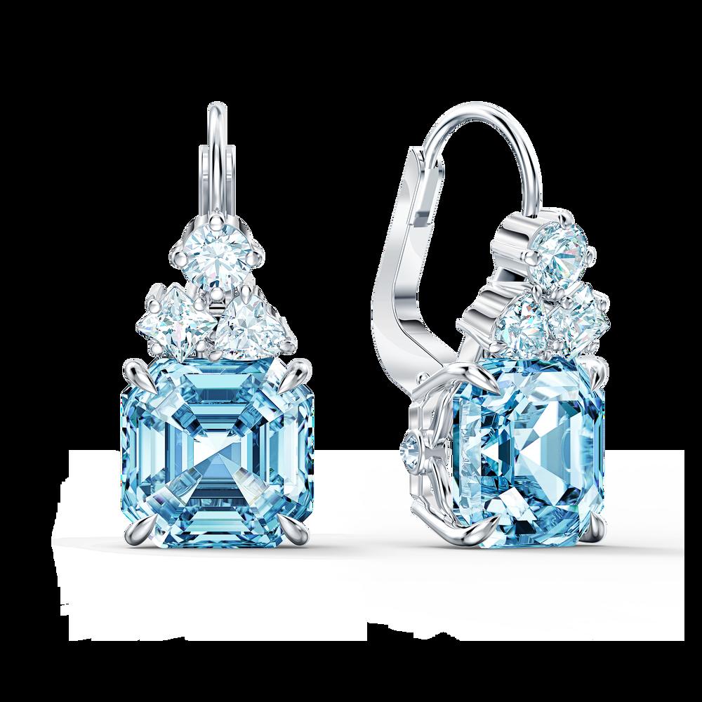 طقم Sparkling، ذو لون أزرق مائي، مطلي بالروديوم