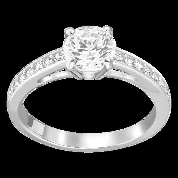 خاتم Attract دائري، أبيض، بطلاء من الروديوم