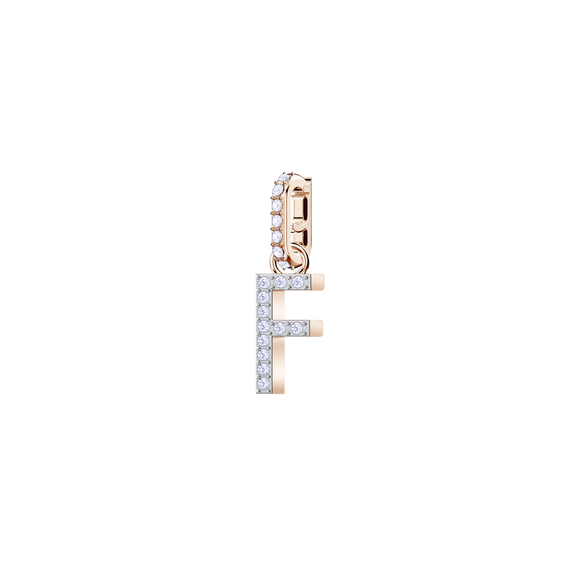 دلاية حرف F من مجموعة Swarovski Remix Collection، بيضاء، بطلاء ذهب وردي