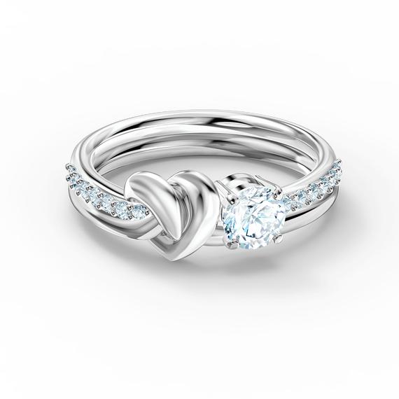 خاتم Lifelong على شكل قلب، لون أبيض، طلاء روديوم