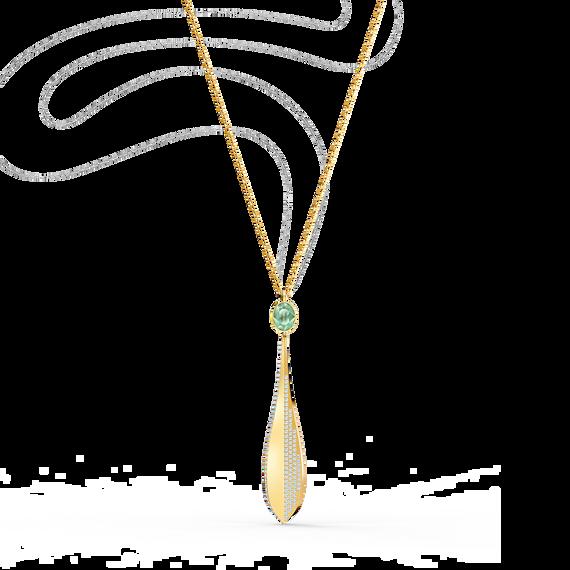 تعليقة Stunning Ginko على شكل زيتونة، خضراء اللون، مطلية باللون الذهبي الوردي
