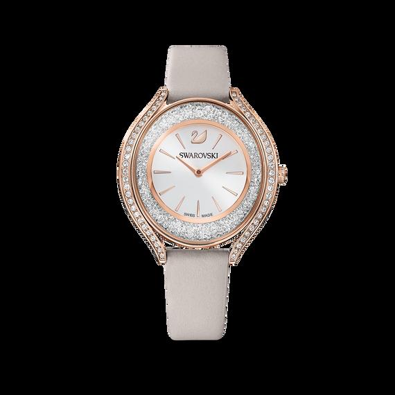 ساعة Crystalline Aura، حزام جلد، لون رمادي، طلاء PVD ذهبي وردي