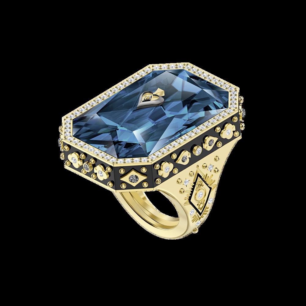 خاتم Tarot Magic Cocktail ، أزرق ، مطلي باللون الذهبي