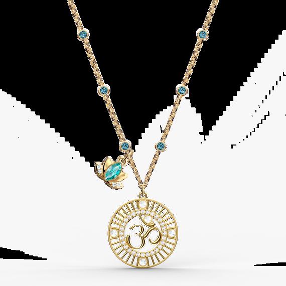 تعليقة تحمل زهرة اللوتس من مجموعة سواروفسكيSymbolic، خضراء اللون، مطلية باللون الذهبي