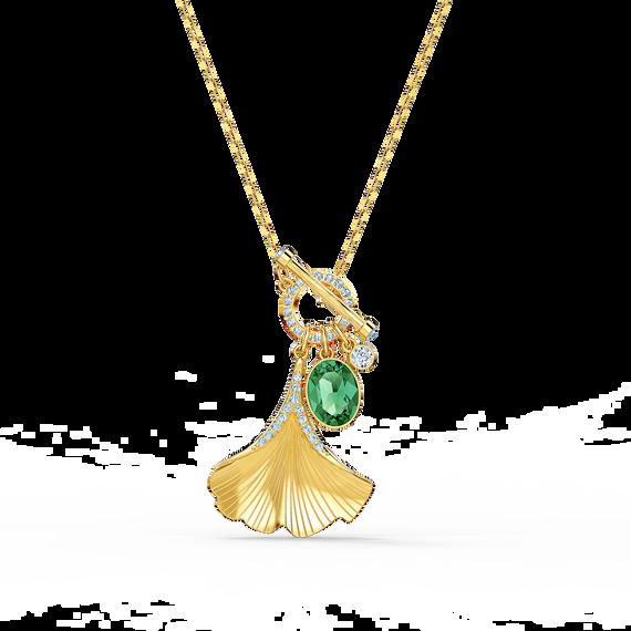 سلسلة Stunning Ginko، خضراء اللون، مطلية باللون الذهبي