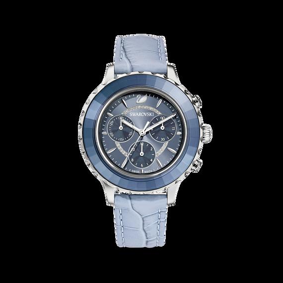 ساعة Octea Lux Chrono، سوار جلد، لون أزرق، ستانلس ستيل