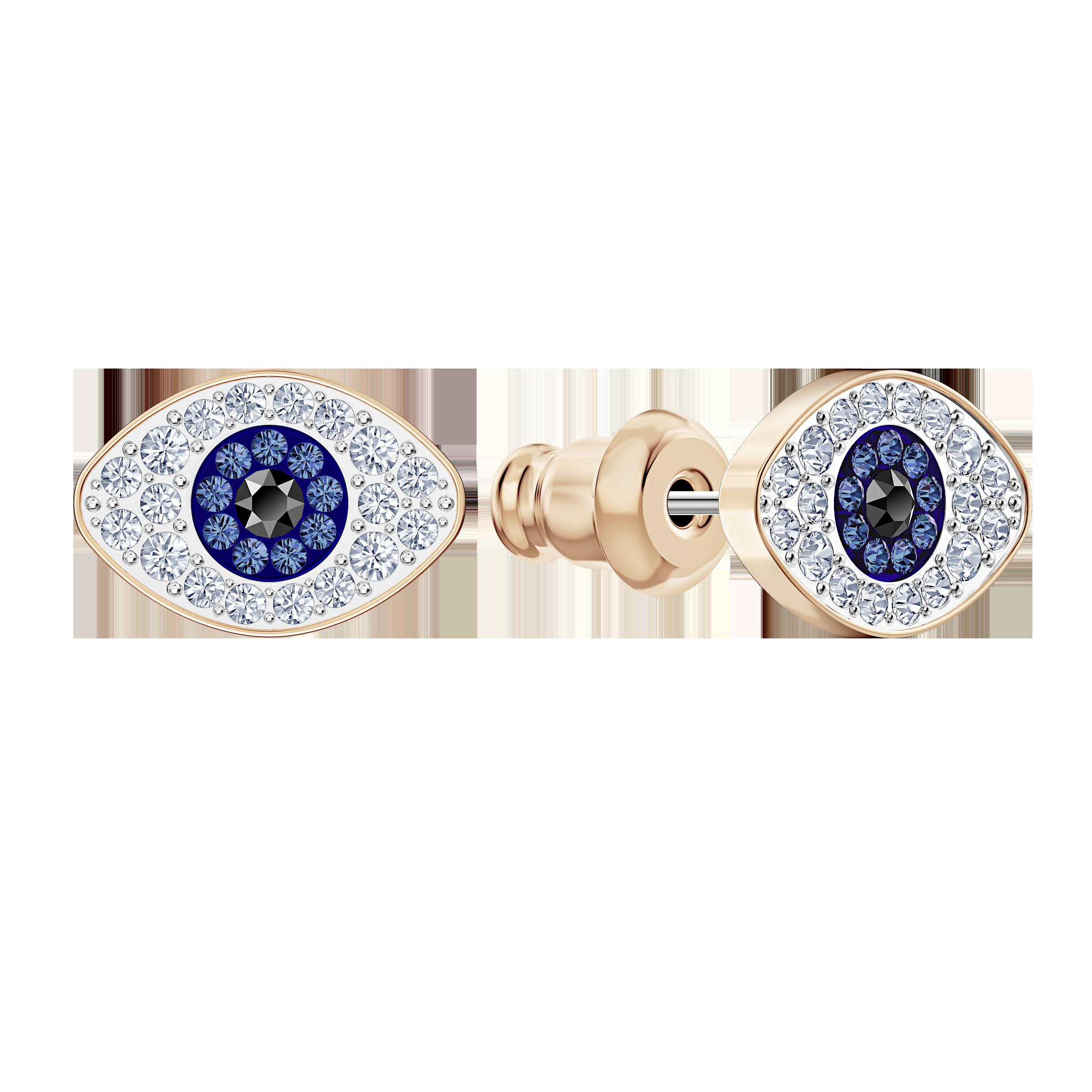 أقراط الأذن المثقوبة الصغيرة Symbolic من سواروفسكي ،أزرق ، مطلي باللون الذهبي الوردي