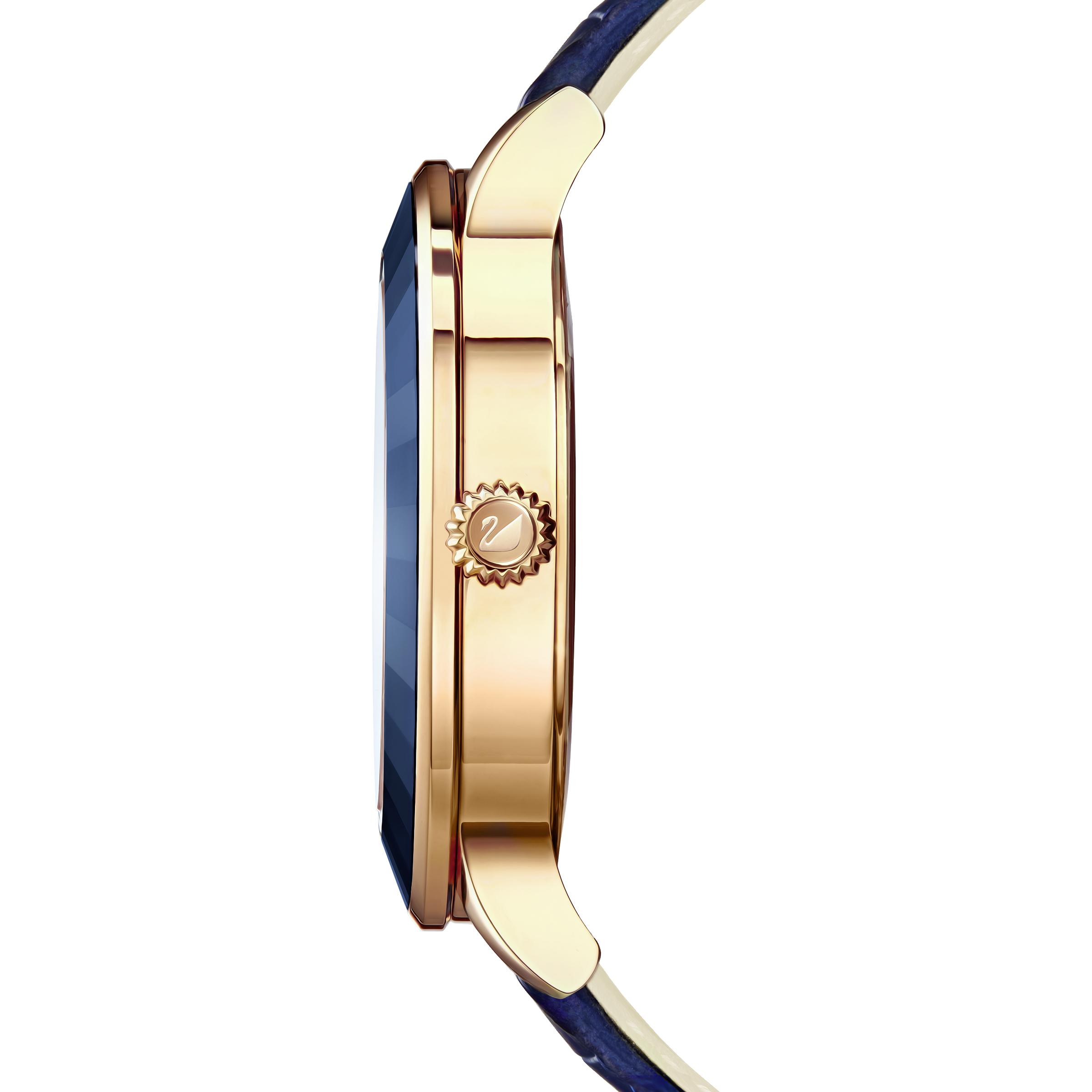 ساعة Octea Lux، بحزام جلدي، زرقاء، بلون ذهب وردي