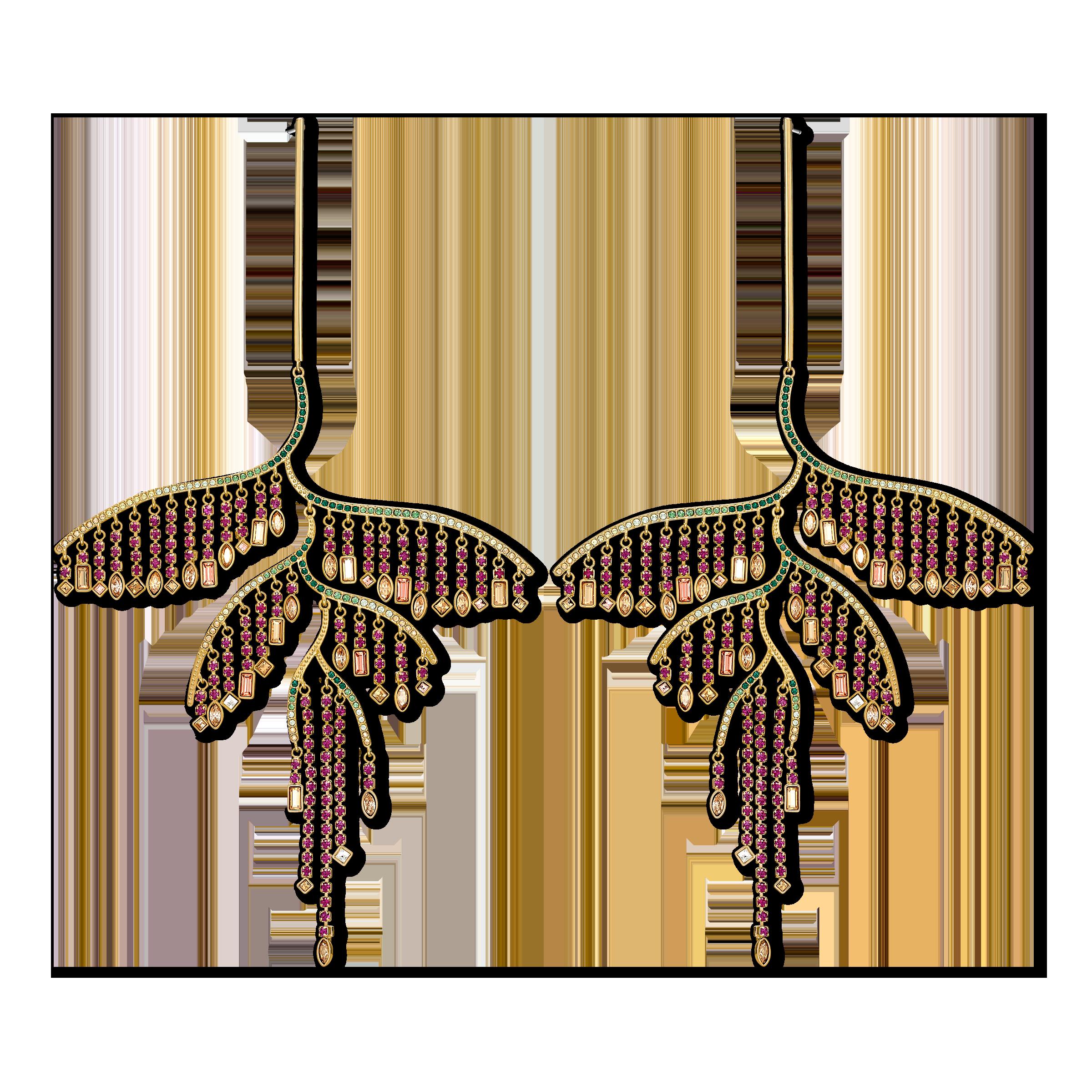أقراط على شكل ورقة شجر Tropical للأذن المثقوبة، متعددة الألوان الغامقة، مع طبقة خارجية معدنية مختلطة