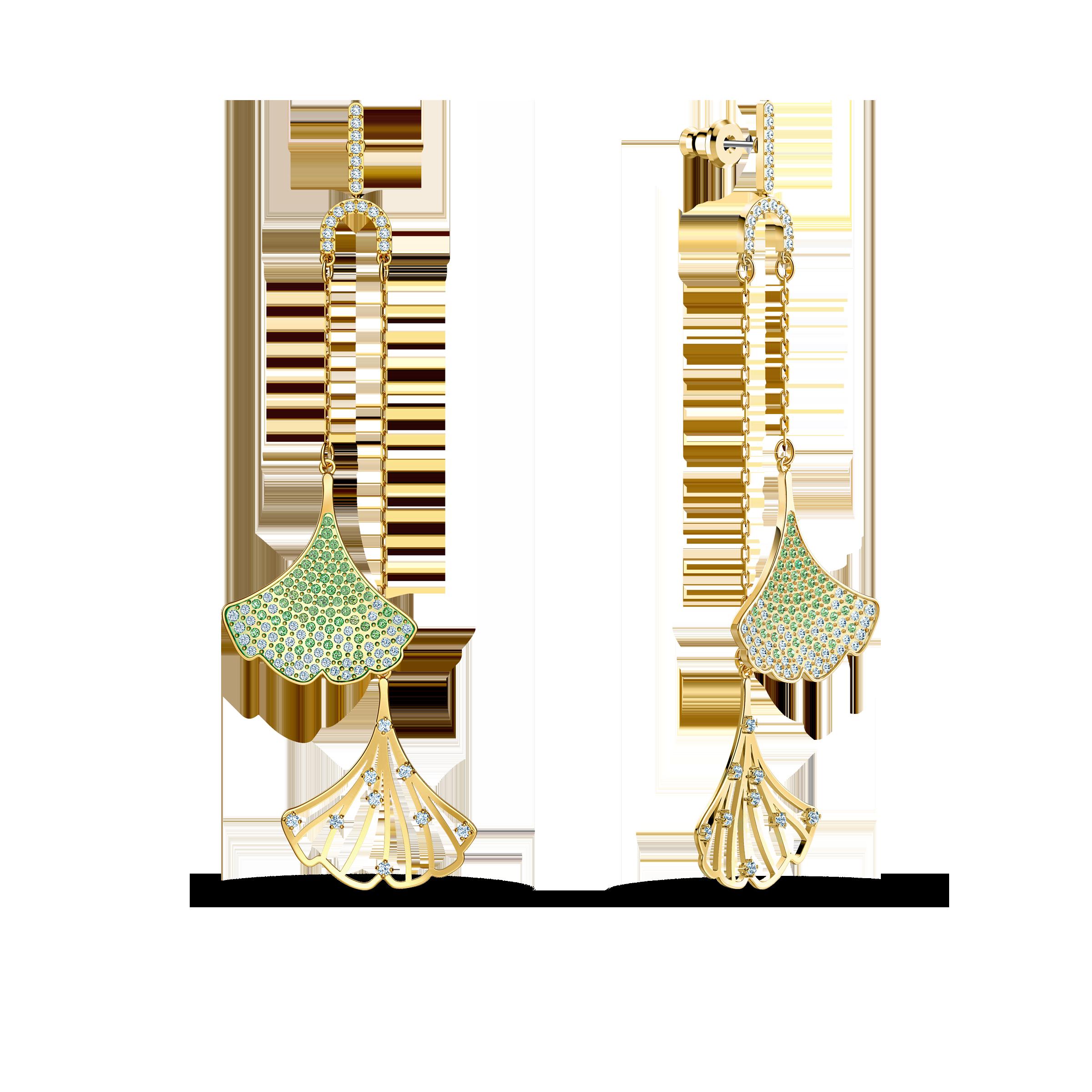أقراط Stunning Ginko غير المثبتة للأذن المثقوبة، خضراء اللون، مطلية باللون الذهبي