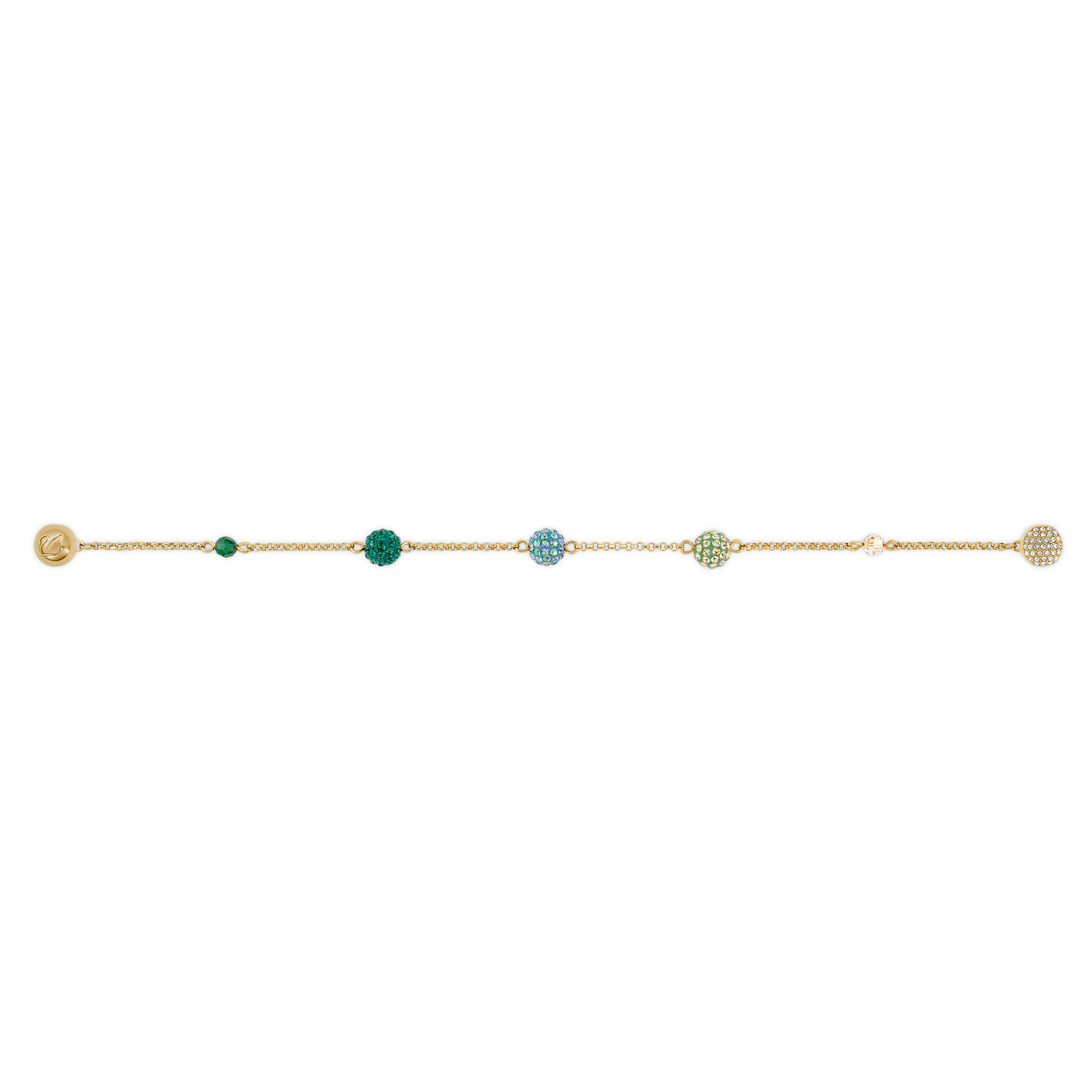 سوار حامل لكرات Pop من مجموعة Swarovski Remix، أخضر اللون، مطلي باللون الذهبي