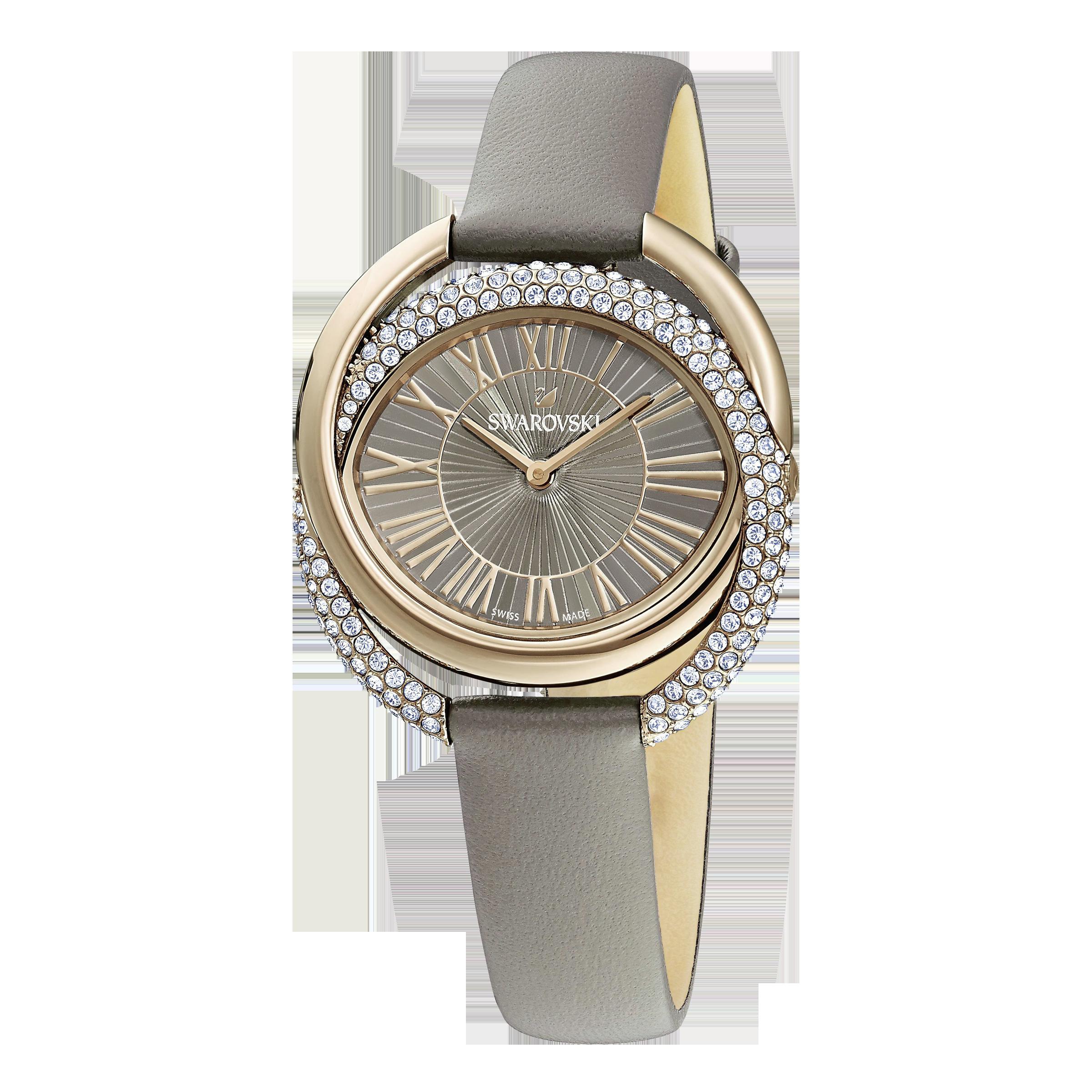 ساعة Duo  ، حزام جلدي ، رمادي ، بلون أصفر ذهبي PVD