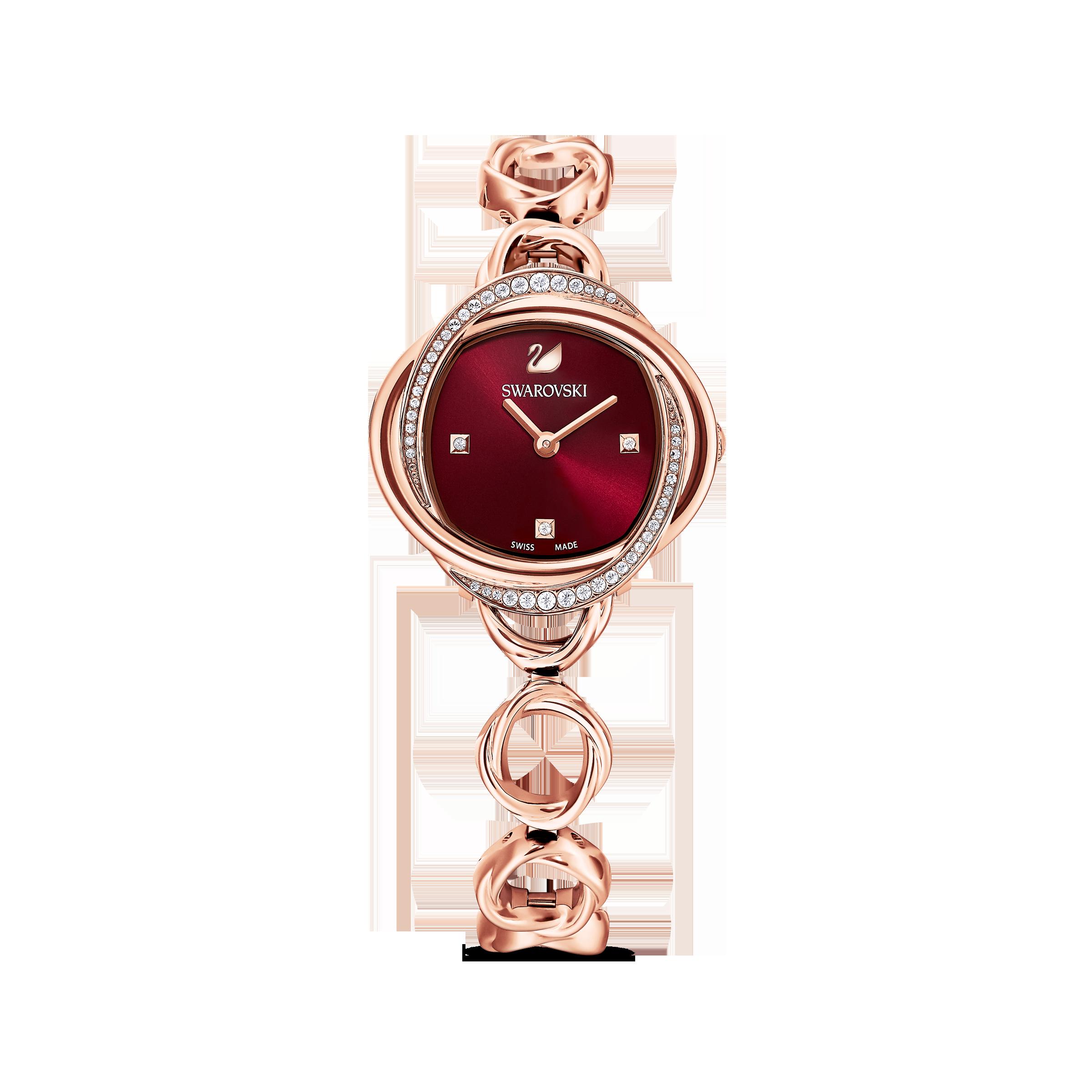 ساعة Crystal Flower، سوار معدني، لون أحمر، طلاء ذهبي وردي بتقنية PVD