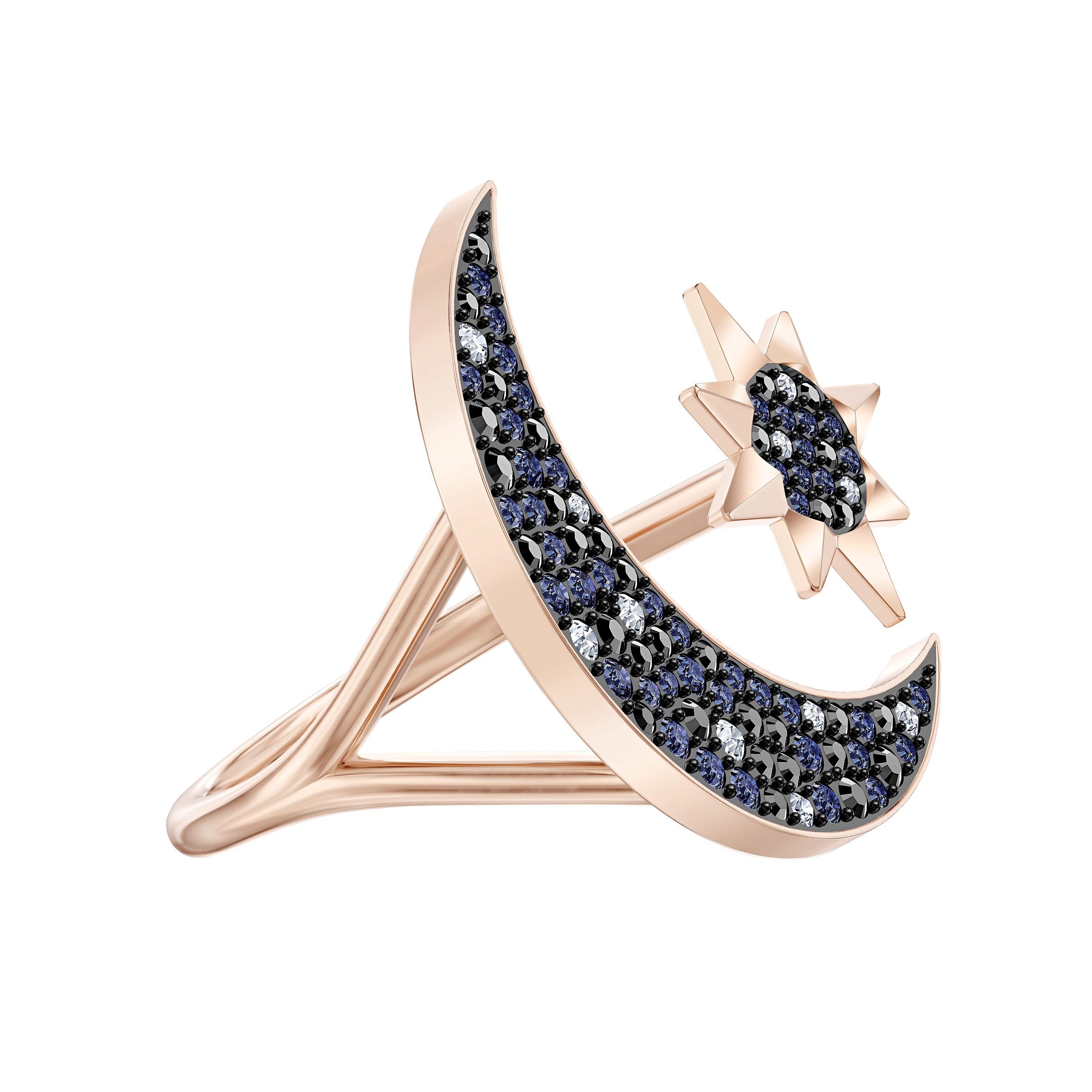 خاتم  Symbolic من سواروفسكي على شكل القمر ، متعدد الألوان ، مطلي باللون الذهبي الوردي